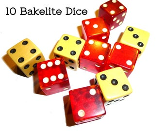10 Bakelite Dice 6 Red Translucent Bakelite Dice & 4 Cream Dice. One Half Inch Die. Great for Games and Crafting. Circa 1950s. Tested.