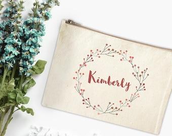 Canvas Makeup Bag - Floral Make Up Pouch - Personalized Canvas pouch - Cosmetic pouch - Cosmetic Bag - Makeup Organizer