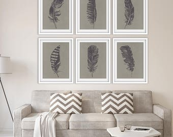 Birds of a Feather (Series 6A) Set of 6 - Art Prints (Featured in River Rock on Pale Gravel Silk) Feather Wall Art