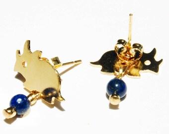 Ceratopsian Dinosaur Post Earrings, Gold or Silver Plated Stud Earrings, Lapis or Garnet, Cute Dino Science Earrings, Paleontologist Gift