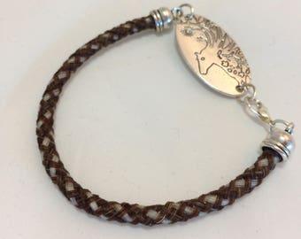 8 Inch Sorrel/White Horse Hair Braided Horsehair Bracelet With Art Nouveau Charm - 6MM Basketweave Braid