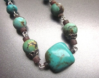 SALE Natural Turquoise Necklace Genuine Turquoise Stone Jewelry Southwest Style