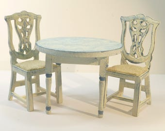 PAINTED TABLE & 2 CHAIRS  blue Shabby Chic dolls house furniture Kitchen 12th scale miniature