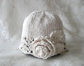 Baby Hat Knitting Knit baby hats Knitted babyCloche Knitted Cotton Cloche Children Clothing Cotton Knitted Flower Hat Knitted Lace Baby Hat