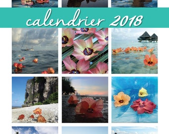 Calendrier 2018 fleurs de purau - pre-order - polynesie francaise, tahiti, hibiscus