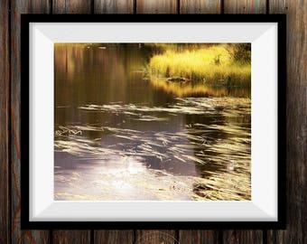 Fall pond photo, Colorado art, Sprague Lake photo, fall decor, autumn reflection art, rustic livingroom decor, log cabin decor, Nat'l Park