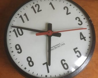 "Memorial Day Sale. Vintage 12"" School Clock."
