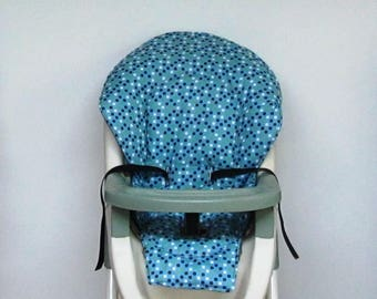 Evenflo cotton highchair replacement pad, custom high chair cushion, chair cover, baby accessory, baby and child, feeding chair,dots on blue