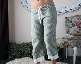 ready to ship size XL color green on sale linen pajama pants in capri length - CHARM - made to order