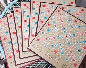 SALE 7 vtg vintage Scrabble game boards. Game boards. Vintage word letter alphabet game