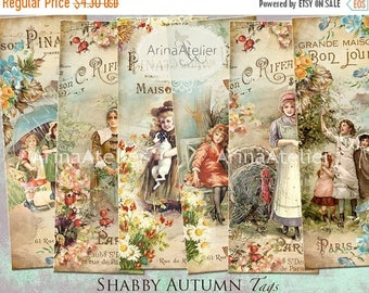 SALE - 30%OFF - BOOKMARKS Shabby Autumn - Digital Collage Tags -Collage Tags - Hang Tags - Vintage Collage - gift Tags, scrapbooking, mix me