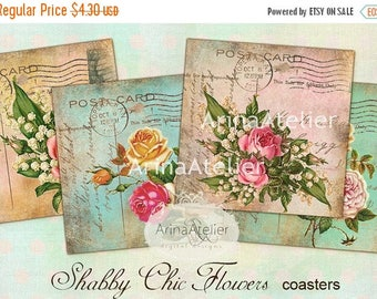 SALE - 30%OFF - Shabby Chic Flowers  - coaster - 4 x 4 inch - set of 4 cards - Digital Download Sheet - Digital tags - Digital printable - C
