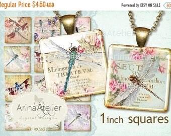 SALE 30% OFF - Vintage Dragonflies Collage 1 inch Squares - Digital Collage Sheet for 25 mm Earrings - Bottlecaps - Pendants - Magnets