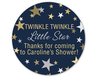 Personalized Baby Shower Favor Labels - Custom Shower Stickers - Twinkle Little Star - Favor Stickers - Baby Shower Labels - Stars Stickers