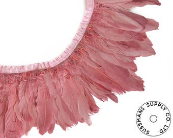 """Feather Trim - Goose Feather Satinette Fringe Trims - Rosewood Pink - 5""""-7"""" (1 yard)"""