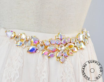 "Rhinestone Applique - Floral Crystal Applique for Weddin  Bridal Sash - 00 Crystal AB Gold - 11.5"" x 3"""