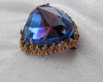 Dalsheim  vintage signed Brooch w large Rainbow Faceted Glass cab