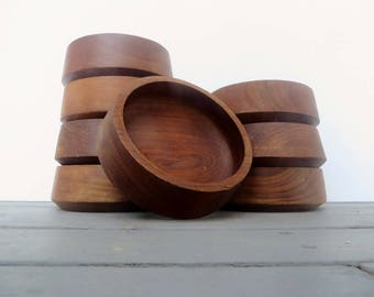 8 Wood Bowls Handcrafted Teak Wooden