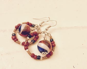 Earrings - Dangle - Seed Beaded Circles with Hand Blown Glass - Boho - Autumn Colors - OOAK