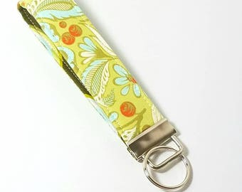 Keyfob, Keychain, Key Wristlet,  Key Holder in Tula Pink fabric, Greens
