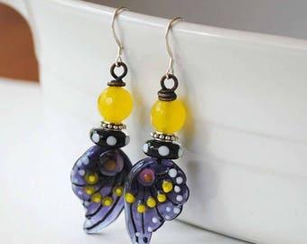 SALE Butterfly Earrings, Purple Wing Earrings, Insect Jewelry, Lampwork Earrings, Nature Inspired Jewelry, Unique Artisan Earrings,