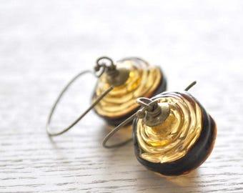 SALE Gold Earrings, Striped Earrings, Hollow Earrings, Glass Bead Earrings, Lampwork Glass Earrings, Light Weight Earrings