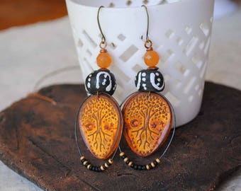 Halloween Earrings, Tree Earrings, Ethnic Earrings, Large Orange Earrings, Polymer Clay Earrings, Teardrop Earrings, Mystical Celestial