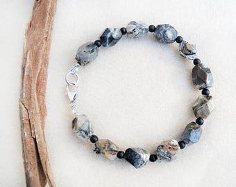Silver Leaf Jasper, Men's Bracelet, Black Onyx, Sterling Silver, Brown, Cream, Gray, Black, Gift for Him, Gift for Man, Gift for Husband