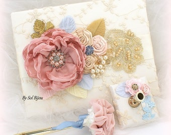 Wedding Guest Book, Lace Guest Book, Rose, Light Blue, Gold, Champagne, Vintage Style, Signature Book, Birthday, Anniversary, Pen, Elegant