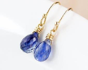 ON SALE Blue Kyanite Teardrop Earrings - 925 Sterling Silver or 14K Gold Fill