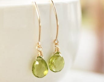 ON SALE Green Peridot Earrings - 14KT Gold Filled - August Birthstone, Birthstone Earrings