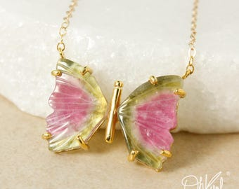 Gold Watermelon Tourmaline Butterfly Necklace – Pendant Necklace