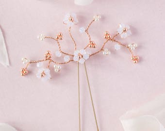 Bridal hair pin / wedding hair pin / bridesmaid hair pin / rose gold hair pin / crystal hair pin / white opal hair pin / cherryblossom