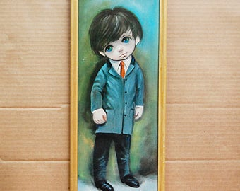 Vintage Big Eye Boy Print Painting in Suit Moppet 1960s 1970s Framed Art Sixties Decor