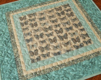 Aqua and Gray Butterfly Table Topper, Quilted Square Table Topper, Gift for Butterfly Lover, Butterfly Decor, Bedroom Decor