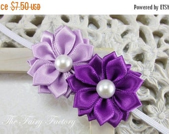 Purple Satin Flower Headband, Lavender and Purple Flower Duo with Pearls Skinny Headband or Hair Clip, The Emily, Newborn Baby Toddler Girl