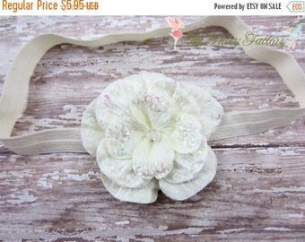 Ivory Flower Headband, Velvety Flower w/ Sequins & Beads Headband or Hair Clip, Infant Headband, Newborn, Infant Child Baby Girls Headband