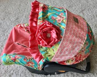 Coral Floral Car Seat Cover, Blush Ballet Twirls Baby Car Seat Cover, Blush Car Seat Cover, Infant Car Seat Covers, Coral Car Seat Cover