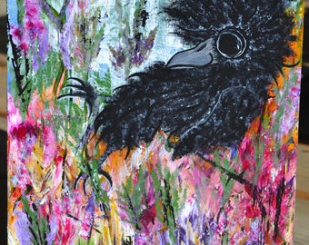 Baby Crow/Bird Art, Home/Flowers/Nature, Original Acrylic Painting, Wood Panel, Home Sweet Home