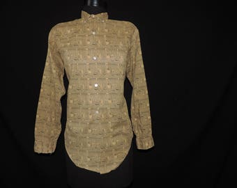 1950s mens novelty print shirt egyptian revival hieroglyphics casual button down medium