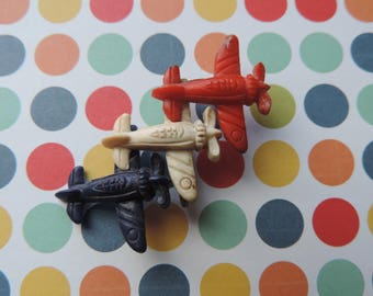 celluloid war planes brooch 1940s plastic antique red white and blue airplanes pin