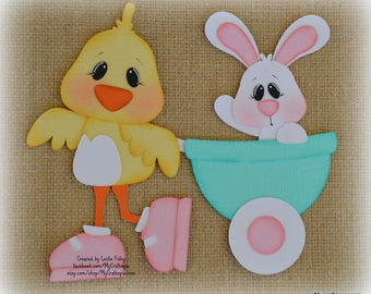 Easter Chick with wagon Premade Scrapbooking Embellishment Paper Piecing