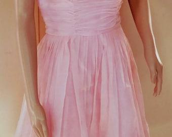 Vintage 60s Pink Chiffon Party Dress