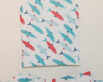 Men's Bow-tie & Pocket Square set - fish, sea, men's gift set, fishing