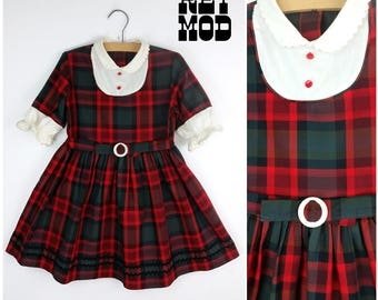 CHILD SIZE - Cute Vintage 50s 60s Red & Green Plaid with White Bib Front Dress