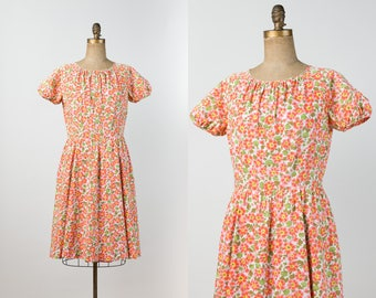 1960s Dress - 60s Floral Dress - Vintage Cheery Orange & Coral Cotton Dress with Flower Print - L