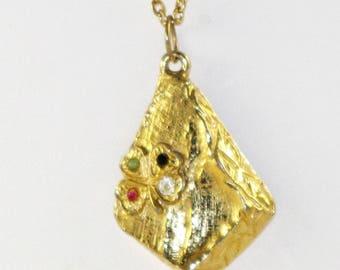 Vintage Four Leaf Clover Gold Tone Necklace (N-2-2)