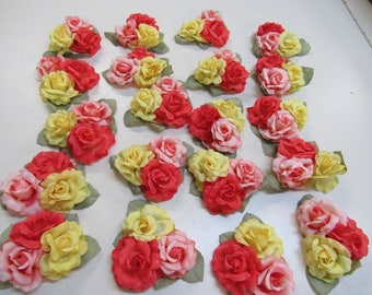 20 Vintage bunches of 3 millinery flowers
