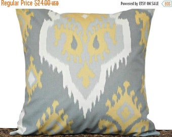 Christmas in July Sale Gray Ikat Pillow Cover Cushion Mustard White Decorative Throw Pillow 18x18