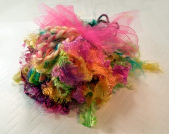 Art Yarn Assortment Flowers and Fairies Colorway- Plush, Card Making, Weaving and Art Quilting Materials- Ready to Ship